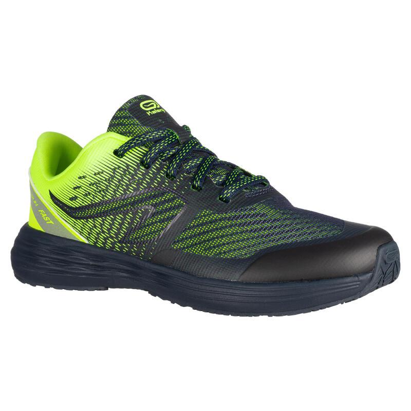 chaussures enfant d'athlétisme AT 500 kiprun fast marines jaunes