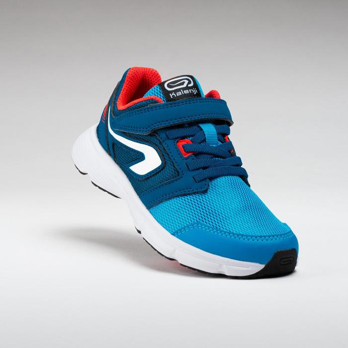 兒童款魔鬼氈運動鞋RUN SUPPORT - 藍色/紅色