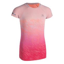 女孩款田徑T恤AT 500-粉紅色