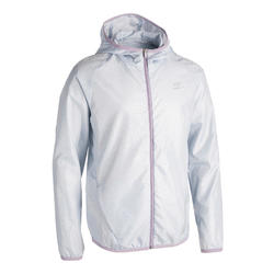 KALENJI AT 100 KIDS' ATHLETICS WINDPROOF JACKET - PEARL GREY/PINK