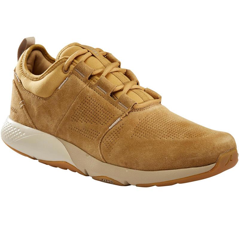 Herensneakers voor sportief wandelen Actiwalk Comfort leer camel