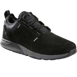 Herensneakers voor sportief wandelen Actiwalk Confort Leather zwart