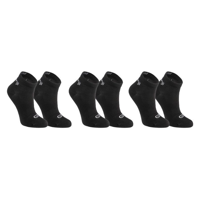 ถุงเท้าข้อต่ำสำหรับเด็กใส่เล่นกรีฑารุ่น AT100 แพ็ค 3 คู่ (สีดำ)