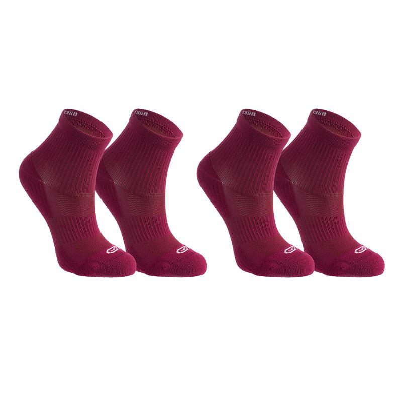 Confort children's athletics socks high pack of 2 violet