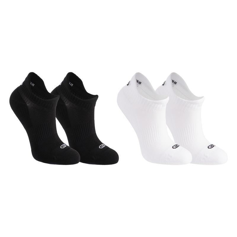 Calcetines Running Kalenji Niños Negro/Blanco Invisible x2
