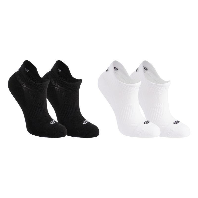 Onzichtbare sokken voor atletiek kinderen wit/zwart 2 paar
