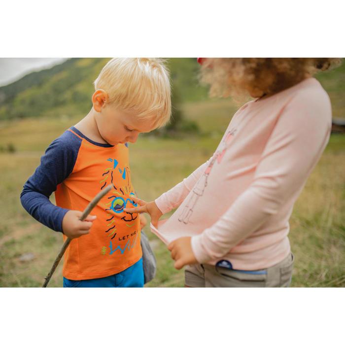 Wandelshirt met lange mouwen voor kinderen anti-uv MH150 oranje