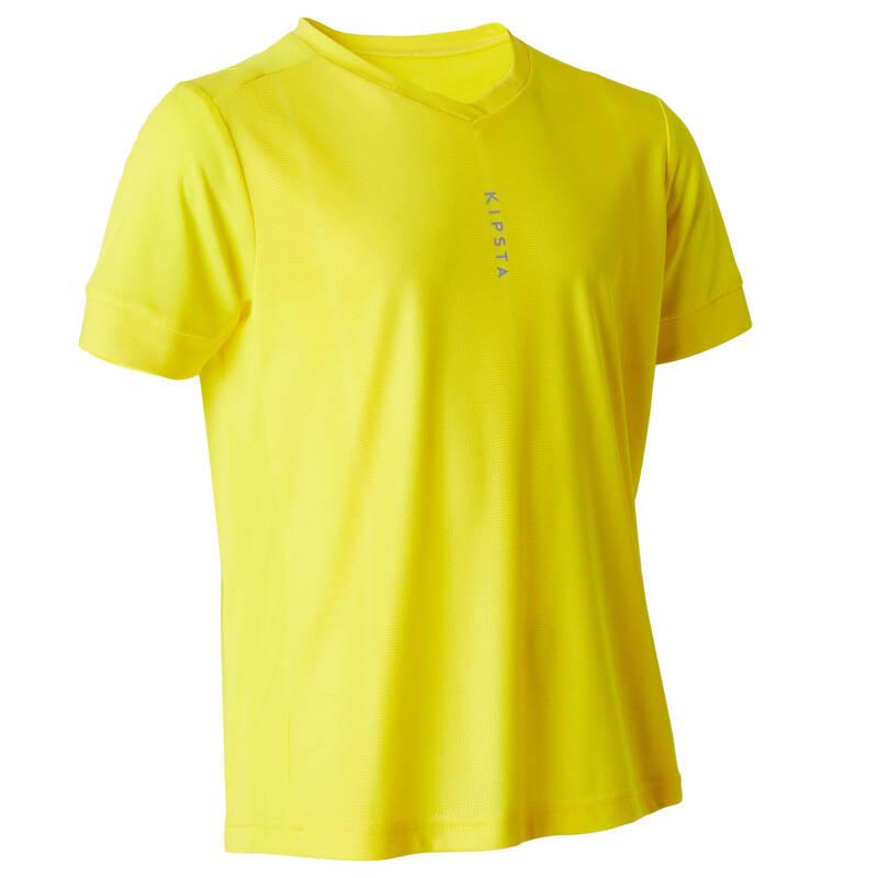 DĚTSKÉ OBLEČENÍ DO TEPLÉHO POČASÍ Fotbal - DRES F500 ŽLUTÝ KIPSTA - Fotbalové oblečení