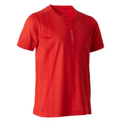 Voetbalshirt met korte mouwen voor kinderen F500 rood
