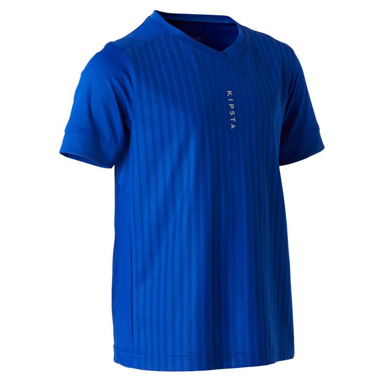 DĚTSKÉ OBLEČENÍ DO TEPLÉHO POČASÍ Fotbal - DĚTSKÝ DRES F500 MODRÝ KIPSTA - Fotbalové oblečení
