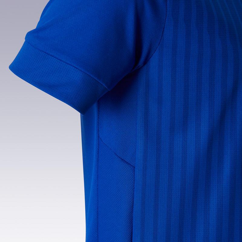 Maillot de football enfant manche courte F500 Bleu uni