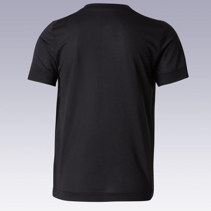 Kids' Short-Sleeved Football Shirt F500 - Plain Black