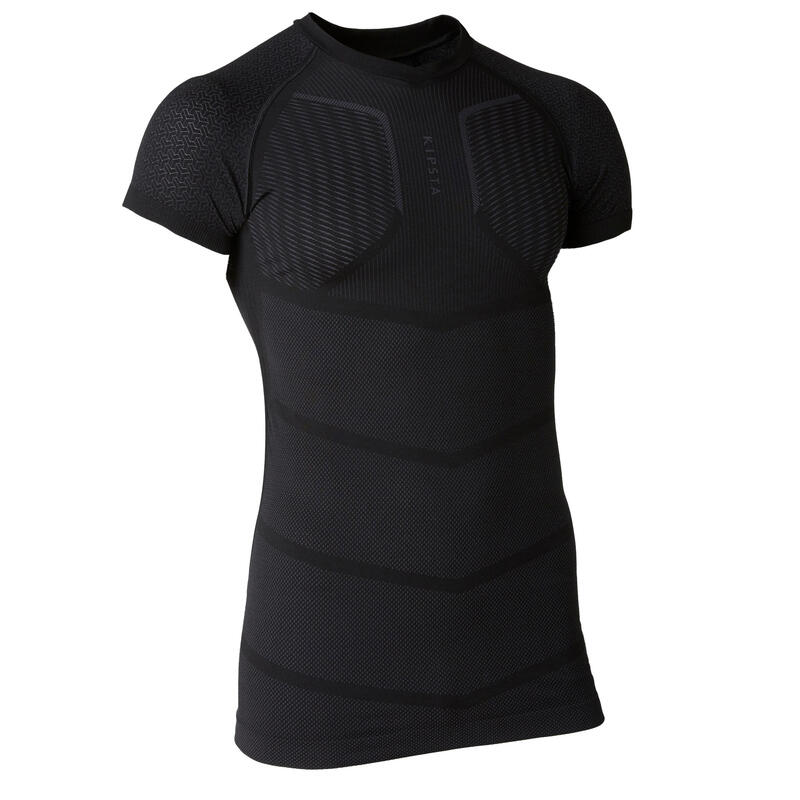 Adult Short-Sleeved Thermal Base Layer Keepdry 500 - Black