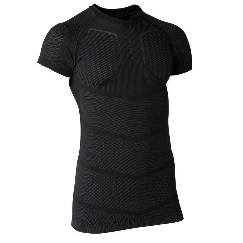 Men's Football Short-Sleeved Base Layer Top Keepdry 500 - Black