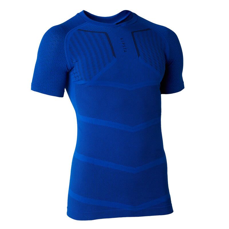 Sous-vêtement haut keepdry 500 adulte manches courtes football bleu