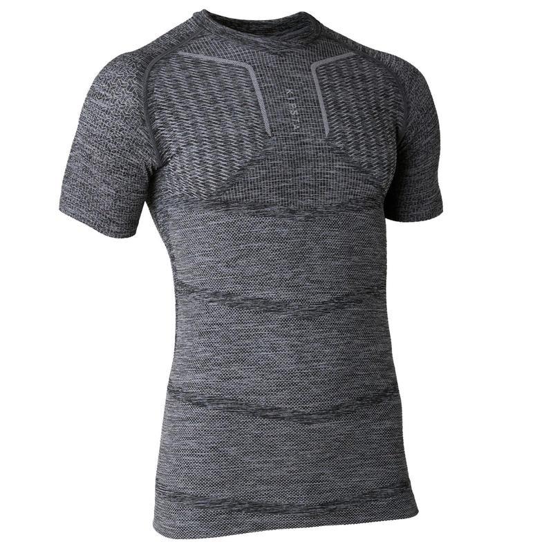 Sous-vêtement haut keepdry 500 adulte manches courtes football gris