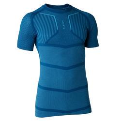 Ondershirt voor voetbal volwassenen Keepdry 500 korte mouwen petrolblauw
