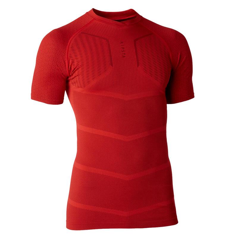 Sous-vêtement haut Keepdry 500 adulte manches courtes football rouge
