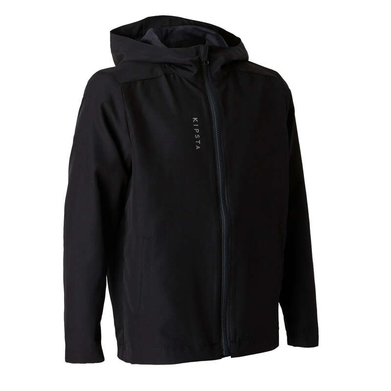 JR COLD WEATHER OUTFIT Football - Windproof Jacket 100 - Black KIPSTA - Football Clothing