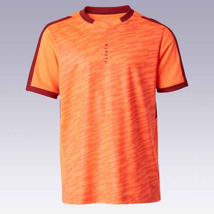 Camisola de futebol manga curta F520 criança laranja e bordeaux