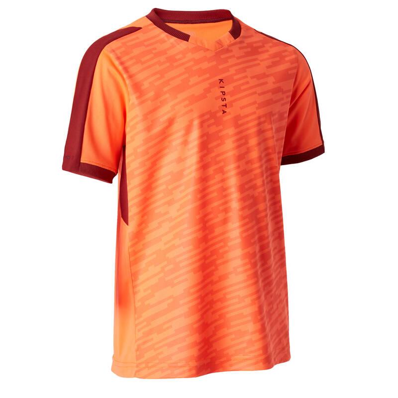 DĚTSKÉ OBLEČENÍ DO TEPLÉHO POČASÍ Fotbal - DRES F520 ORANŽOVÝ KIPSTA - Fotbalové oblečení