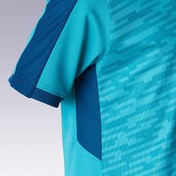 Voetbalshirt met korte mouwen voor kinderen F520 turquoise en blauw