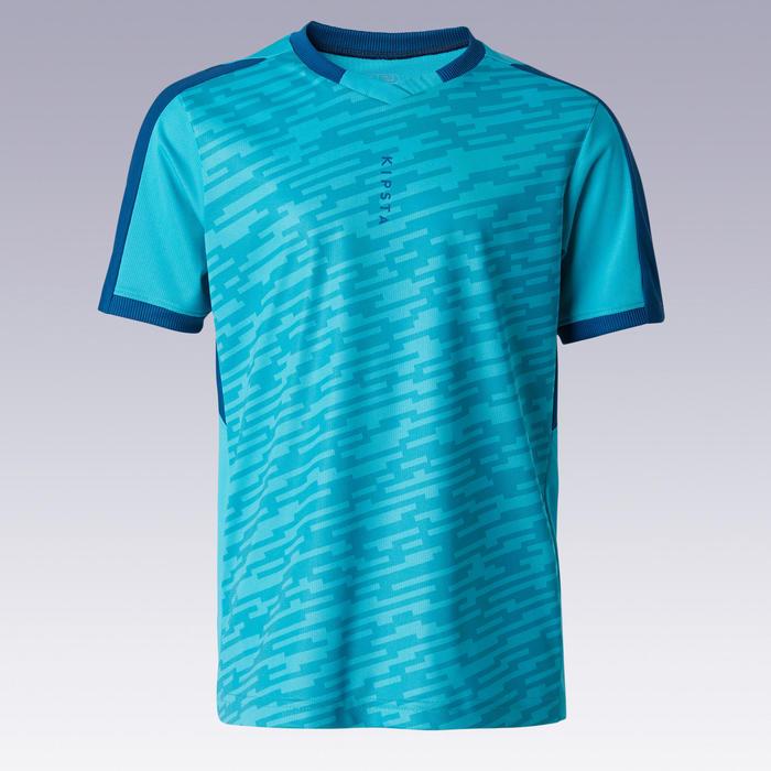 Maillot de football enfant manche courte F520 turquoise et bleu