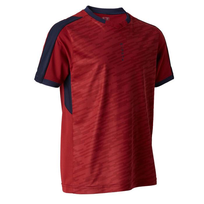 Voetbalshirt met korte mouwen voor kinderen F520 bordeaux en marineblauw