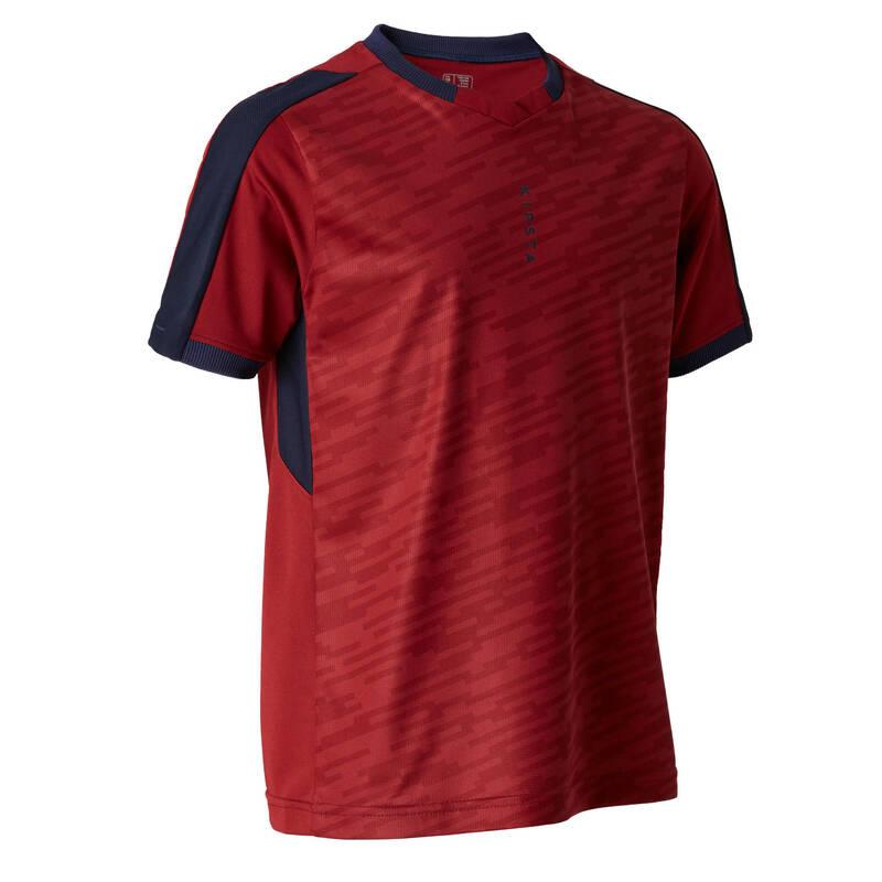 DĚTSKÉ OBLEČENÍ DO TEPLÉHO POČASÍ Fotbal - FOTBALOVÝ DRES F520 VÍNOVÝ KIPSTA - Fotbalové oblečení
