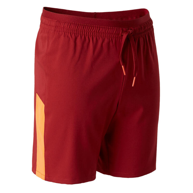 Short de football enfant F520 bordeaux et orange