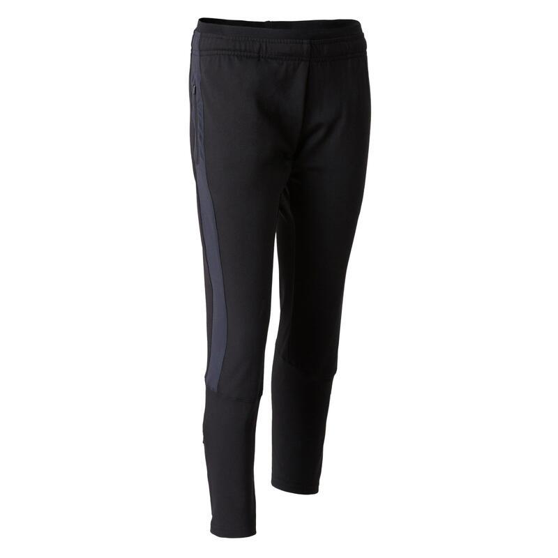 Pantalon d'entraînement de football enfant TP 500 [BAS COURTS] noir et gris