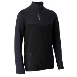 Kindersweater met halve rits voor de voetbaltraining T500 zwart/grijs