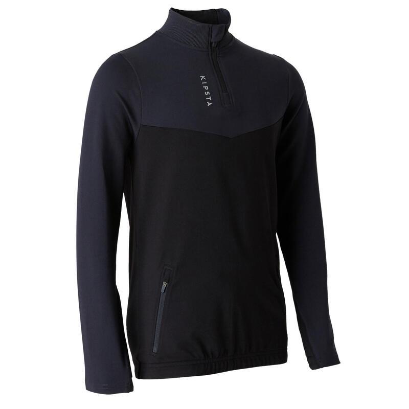 Sweat 1/2 zip d'entraînement de football enfant T500 noir et gris