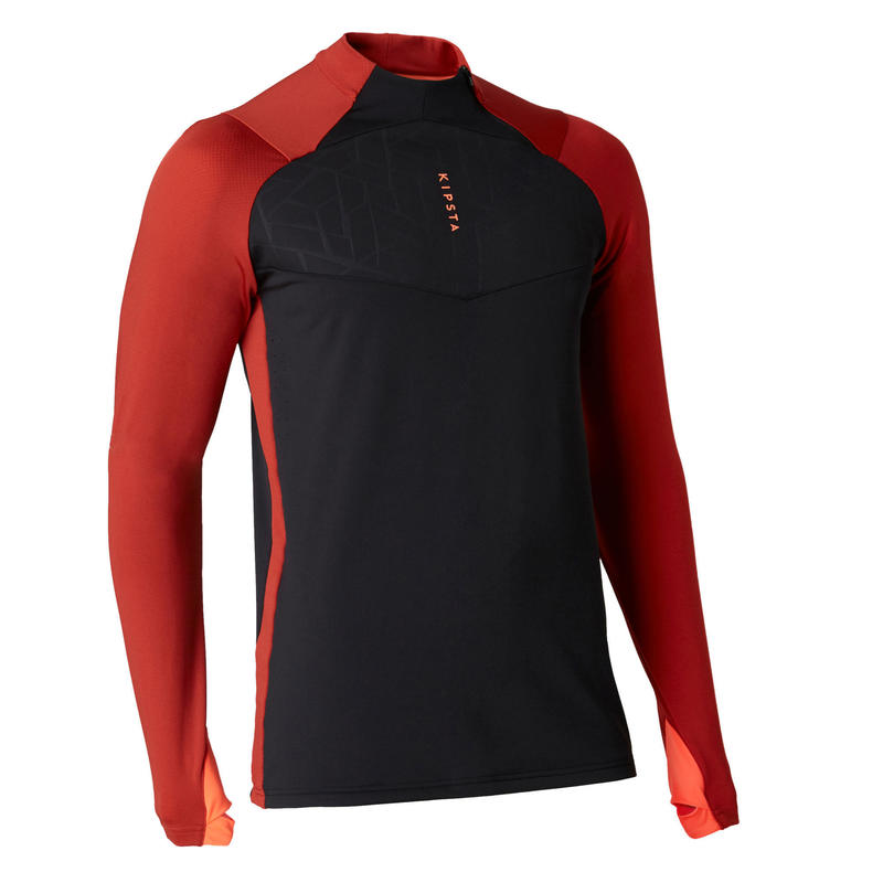 Sweat de football 1/2 zip adulte TRAXIUM noir et rouge