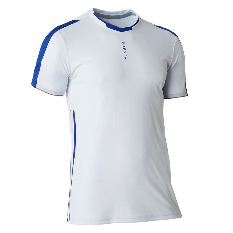 Voetbalshirt voor volwassenen TRAXIUM lichtgrijs/blauw