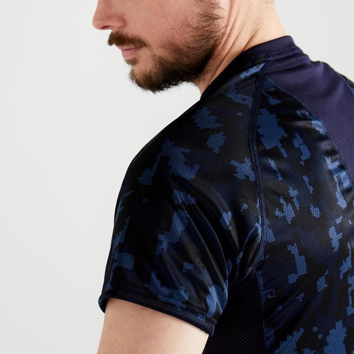 T-shirt voor cardiofitness heren FTS 120 camo donkerblauw