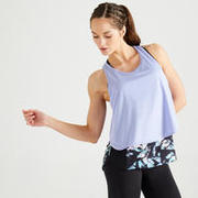 Women's 3-in-1 Fitness Cardio Training Tank Top 520 - Printed Black and Mauve