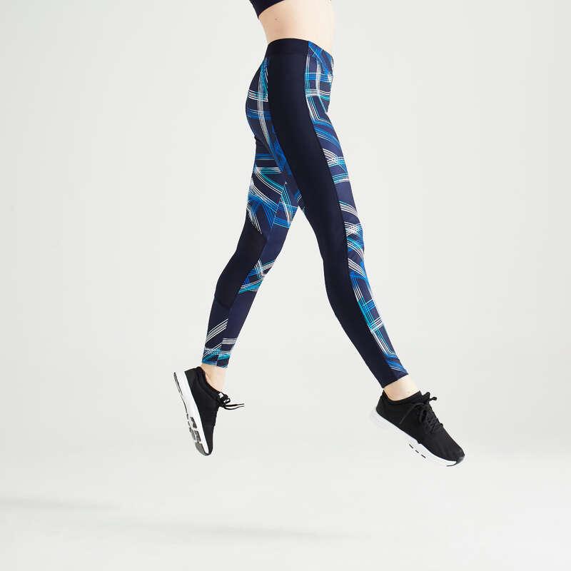 Koszulki/spodenki kardio damskie Fitness, siłownia - Legginsy FTI 120 z nadrukiem DOMYOS - Odzież i buty fitness