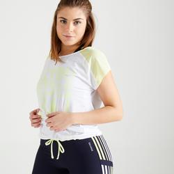 Damesshirt voor cardiofitness 120 wit/fluogeel met print