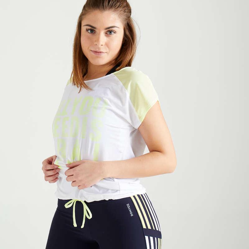 DÁMSKÉ OBLEČENÍ NA KARDIO FITNESS, ZAČÁTEČNICE Fitness - FITNESS TRIČKO 120 BÍLO-ŽLUTÉ DOMYOS - Fitness oblečení a boty