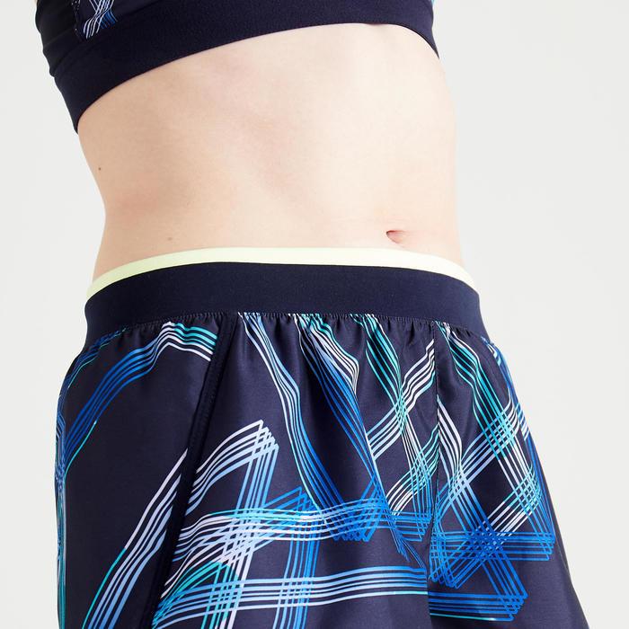 女款有氧健身寬鬆短褲100 - 軍藍色印花