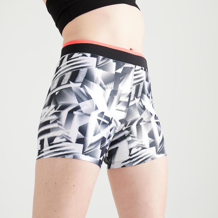 Short voor cardiofitness dames 100 zwart/wit print