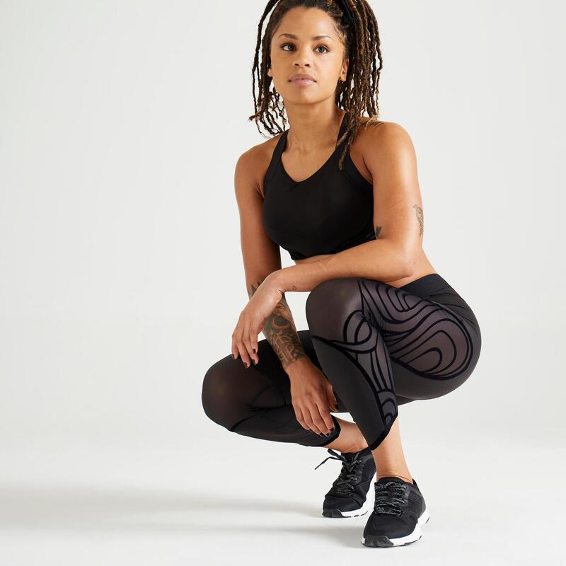Korte modellerende legging met hoge taille voor fitness zwart