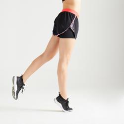 Short 2-in-1 voor cardiofitness dames zwart/roze met print 500