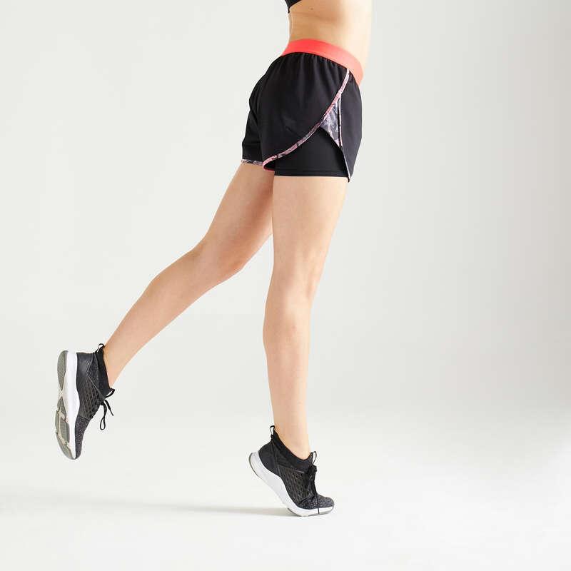 Fitnesz Cardio Női ruházat középhaladó Fitnesz, jóga - Női rövidnadrág 2 az 1-ben DOMYOS - Női kardió ruházat, cipő