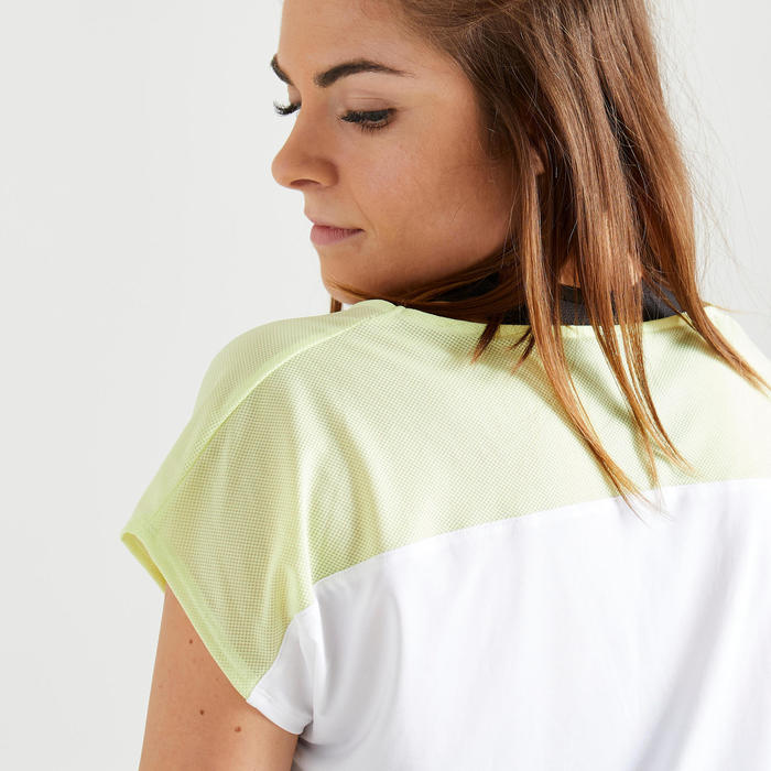 Women's Fitness Cardio Training T-Shirt 120 - Printed White/Neon Yellow