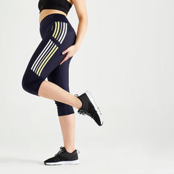 Fitness High-Waisted Cropped Leggings - Navy Blue