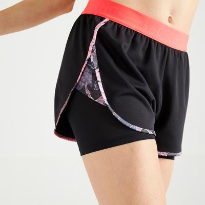 Short 2 en 1 fitness cardio training femme noir et rose imprimé 500
