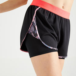 Short 2 en 1 court Fitness anti frottement cuisses noir