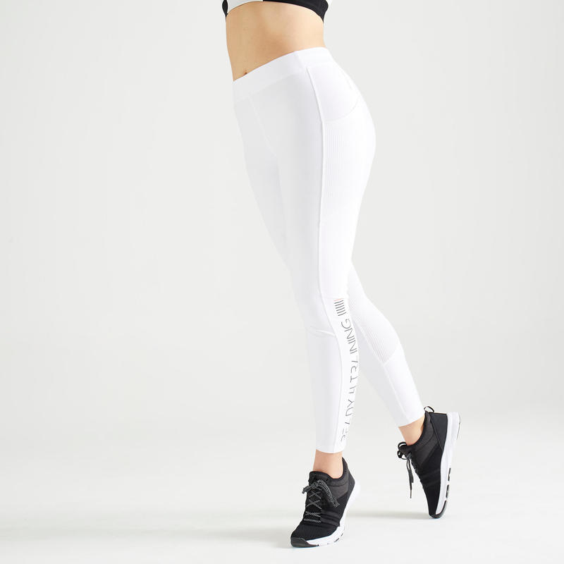 Legging Fitness avec poche téléphone blanc
